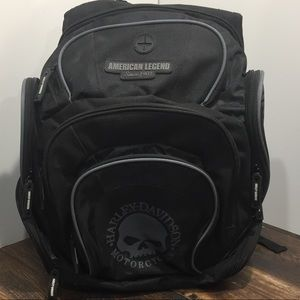 Harley Davidson Black Backpack Willie G Skull logo